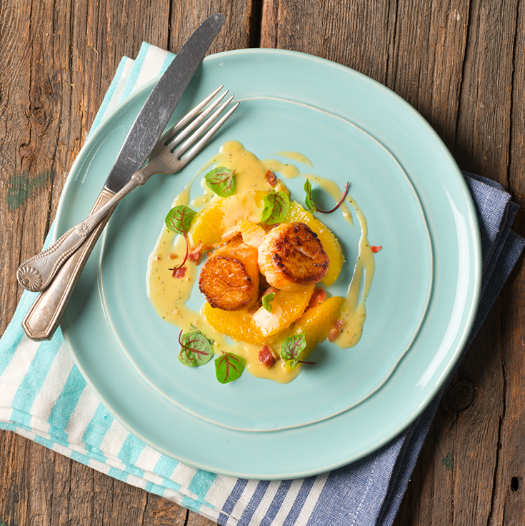 Scallops with citrus butter glaze<